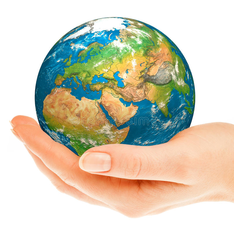 Hand of the person holds globe. stock photo