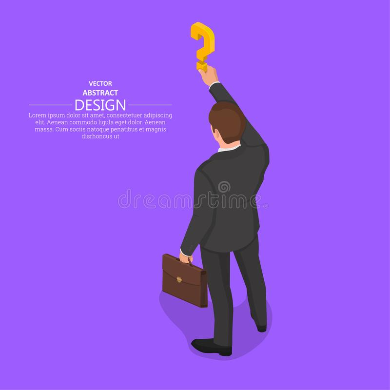 The hand of the person. Holds a question mark.Isometric illustration.The concept of a raising of a question in business.Difficulty, obstacle, solution at the vector illustration