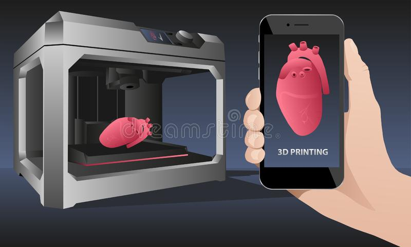 Printing human organs in a 3D printer. Hand with phone. Application for printing human organs in a 3D printer. Vector illustration royalty free illustration
