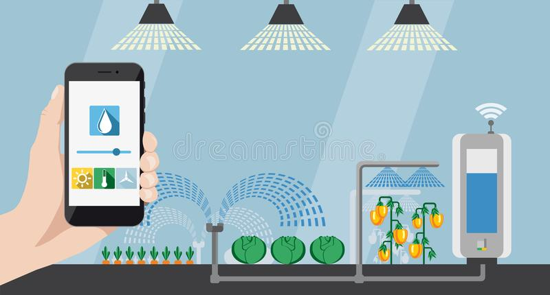 Internet of things in agriculture and smart farming. Hand with phone on a background of greenhouse. On the screen condition measurement tools. Internet of things royalty free illustration