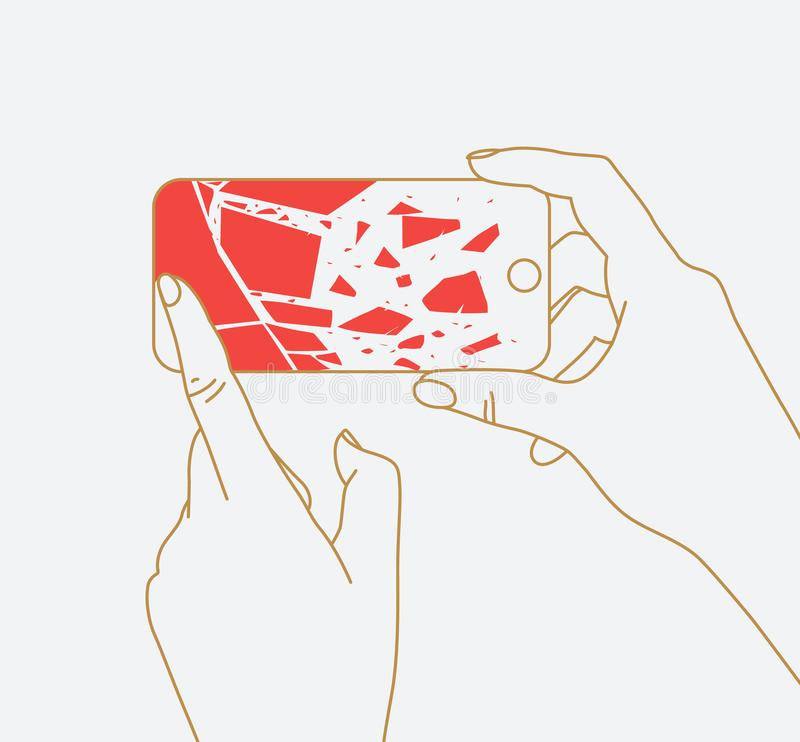Hand phone broken glass. Phone in two hands with broken scattering glass drawing thin lines on white background vector illustration