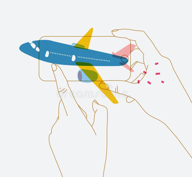 Hand phone buying flight tickets. Phone in hand buying flight tickets drawing with blue plane and thin lines on white background royalty free illustration