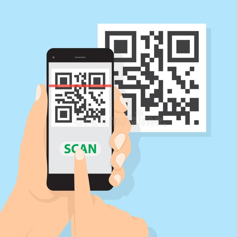 Hand with phone scanning qr code. Flat style icon. Vector QR code sample for smartphone scanning. royalty free illustration