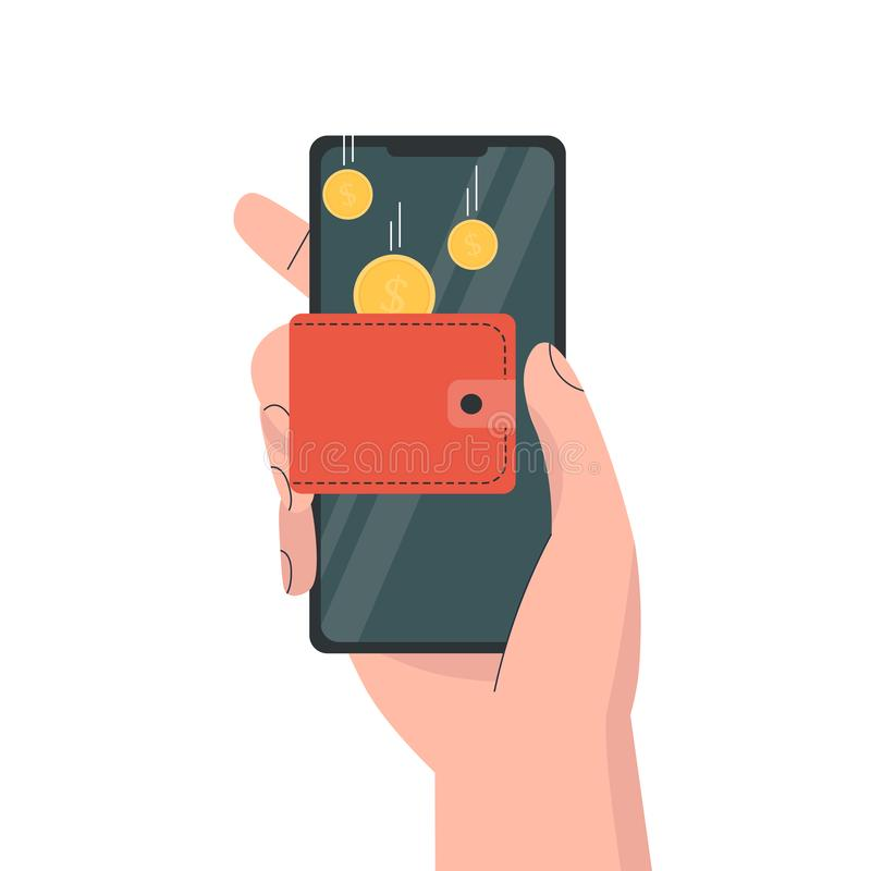 Hand phone with wallet money royalty free illustration