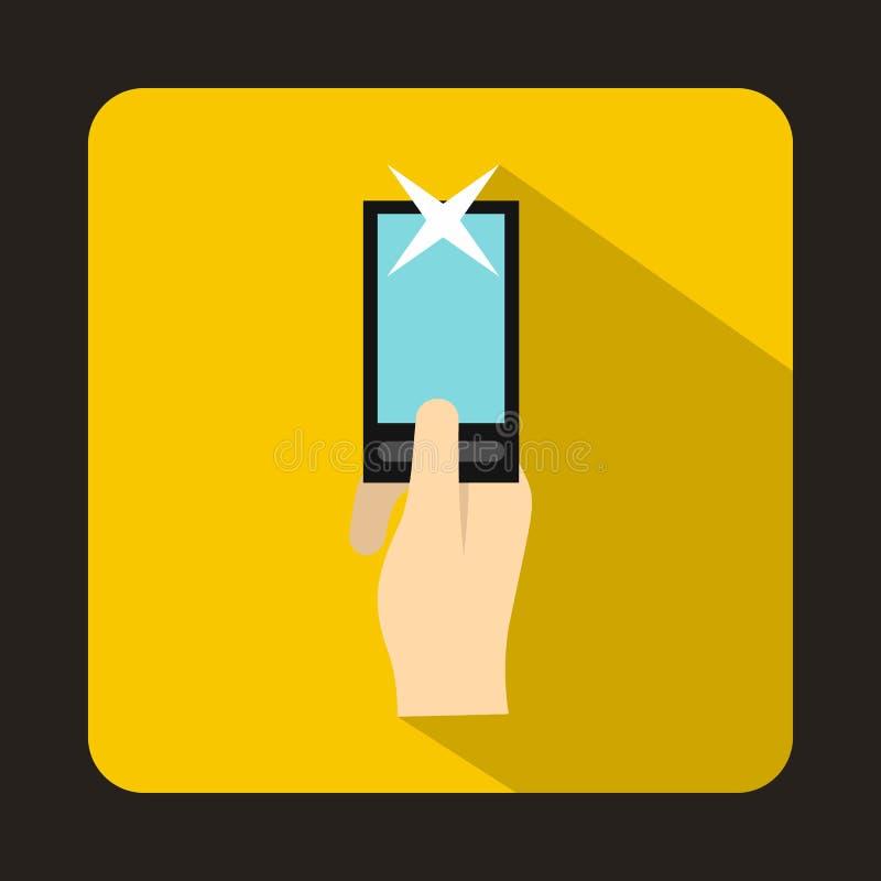 Hand photographs on smartphone icon, flat style royalty free illustration