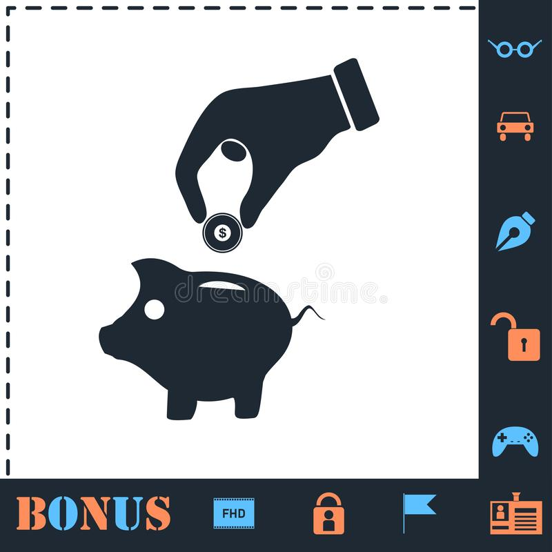 Hand pick down coin into pig money box icon flat vector illustration