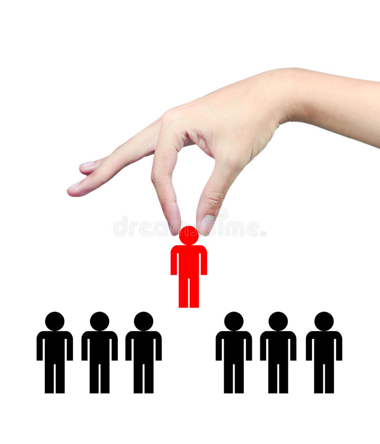 Hand pick up chosen people royalty free stock photo