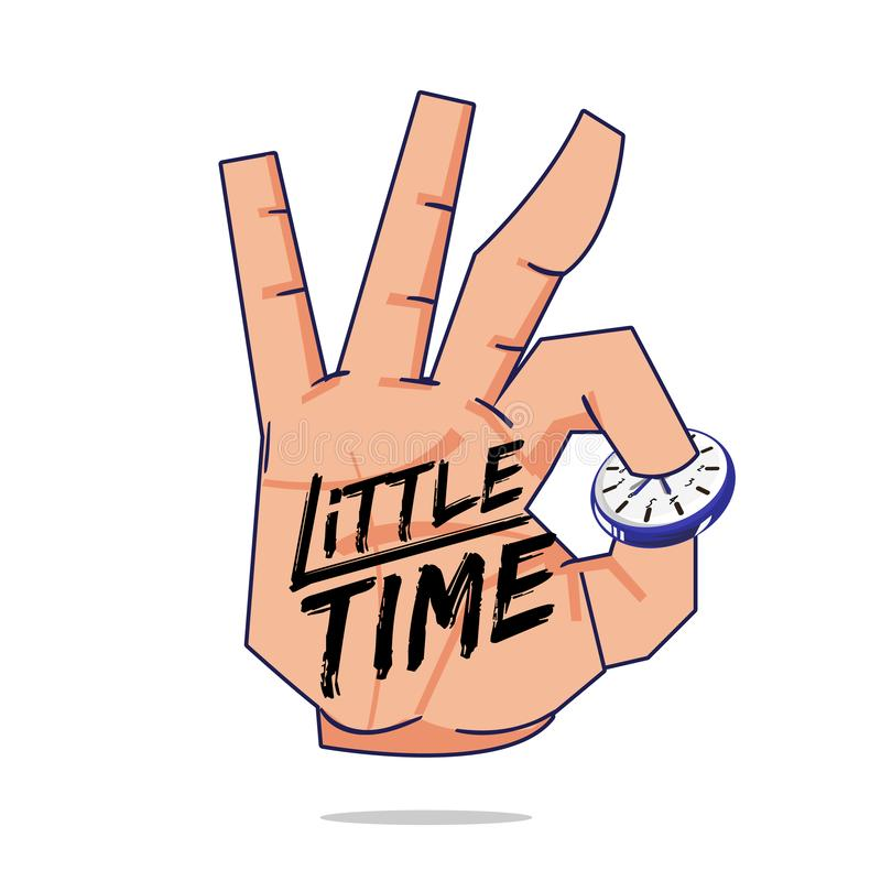 Hand picking wall clock with little time brush typographic. time management concept - vector illustration. Hand picking wall clock with little time brush vector illustration