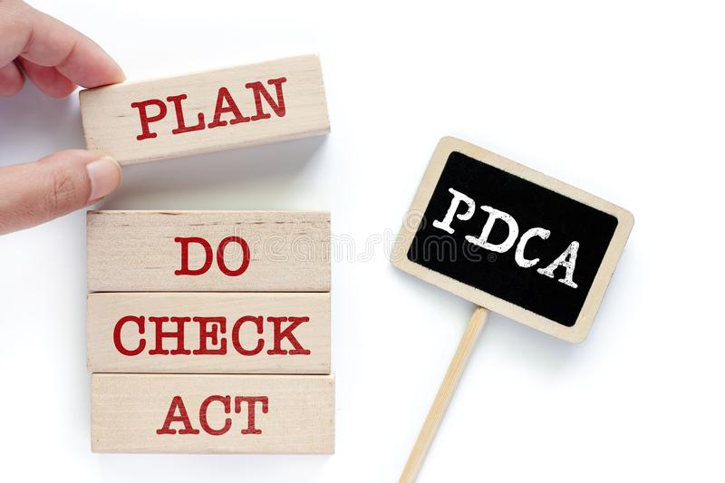 Hand picking the wooden toy with words about PDCA royalty free stock photos