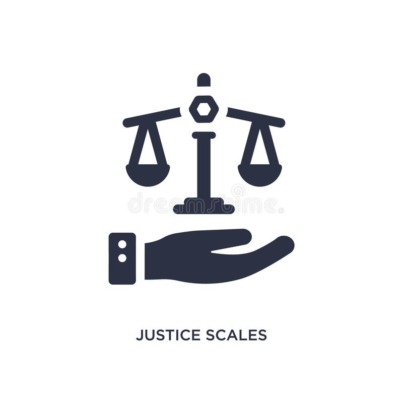 in hand pictogram van rechtvaardigheidsschalen op witte achtergrond Eenvoudige elementenillustratie van wet en rechtvaardigheidsc stock illustratie