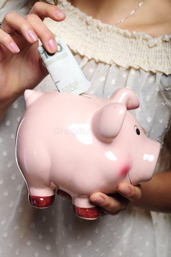 Hand And Piggybank Stock Image