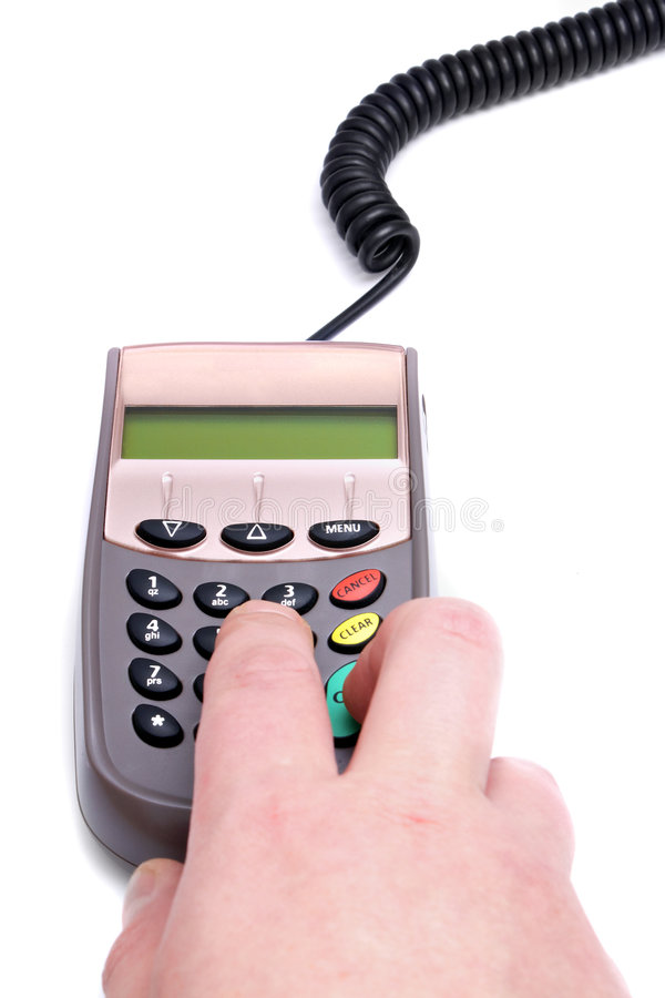A hand and pin pad. A hand and a pin pad stock photography