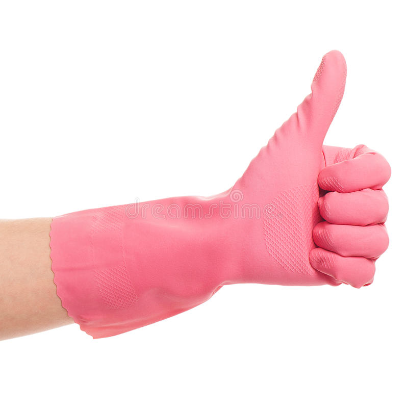 Download Hand In A Pink Domestic Glove Shows Ok Stock Image - Image: 31076091