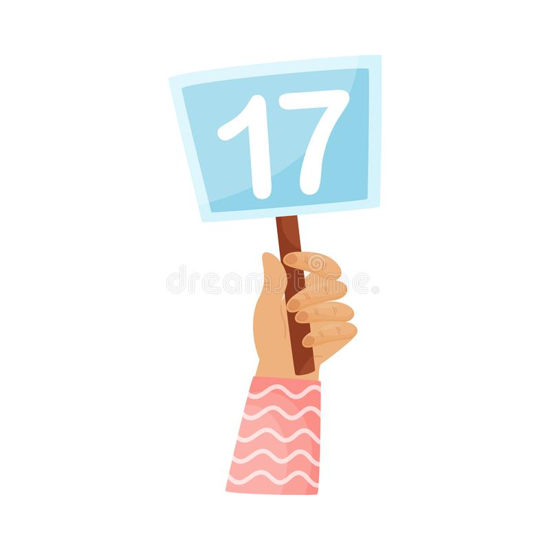 Square plate with the number 17 in hand. Vector illustration on a white background. Hand in a pink striped sleeve holds a blue square plate with the number 17 royalty free illustration