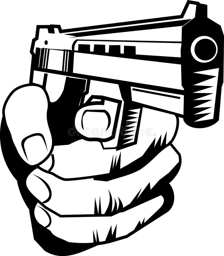 Hand with pistol stock vector. Illustration of colt ...