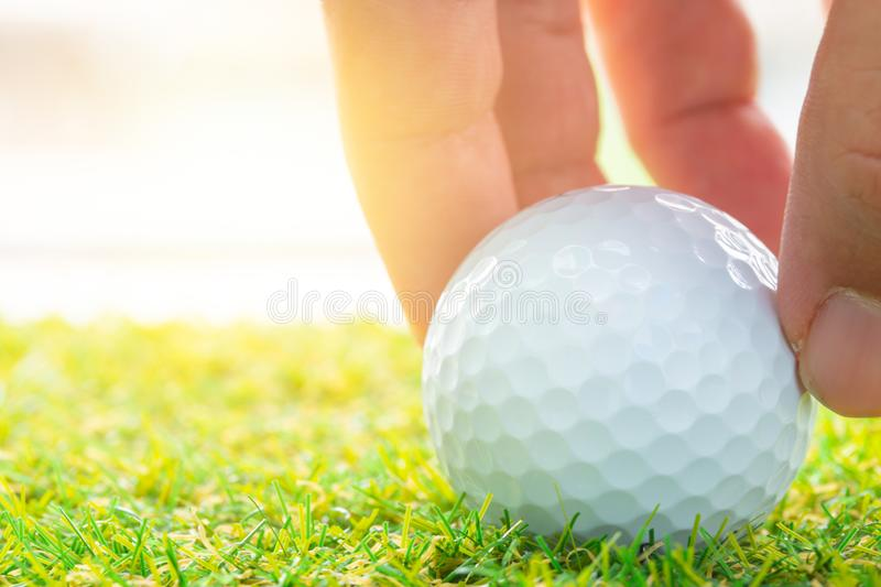 Golf ball on golf course green for business startup. Hand place golf ball on golf course green for business startup good position to success concept royalty free stock photos