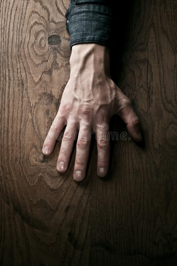 A hand, placed on the wooden background with fingers extended, symbolizing the connection between humans and nature.  royalty free stock photo