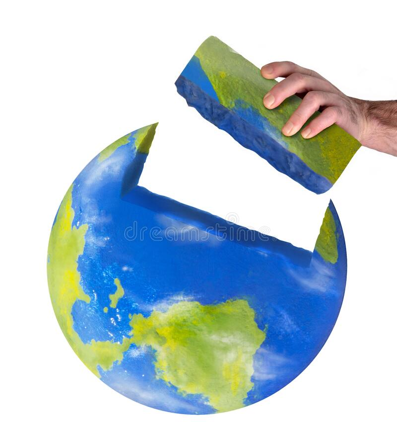 Worker hand build the planet earth concept. stock photography