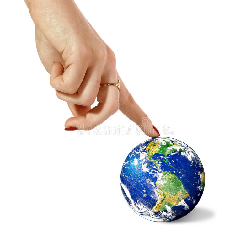Hand and planet Earth. Woman hand touch index finger in planet Earth, on a white background. Image planet by: Stokli, Nelson, Hasler Laboratory for Atmospheres royalty free stock images