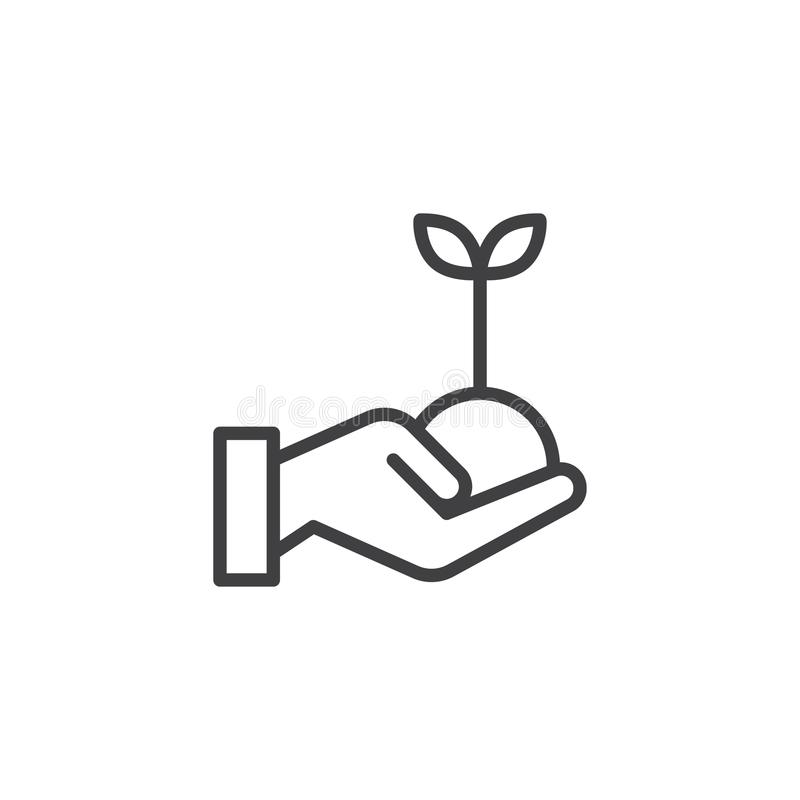 Hand with plant outline icon stock illustration