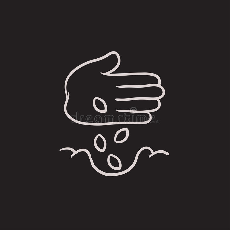 Hand planting seeds in ground sketch icon. vector illustration
