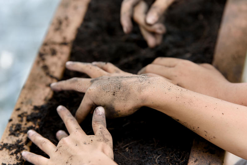 Hand planting. Selective focus at hand of put a little seed into black soil. Earth day and family concept royalty free stock photos