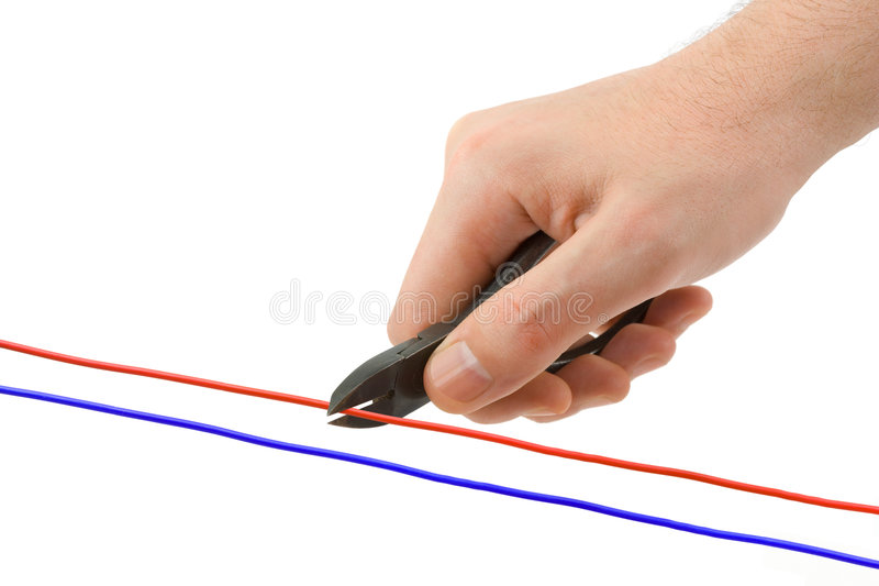 Hand, pliers and cable stock photography