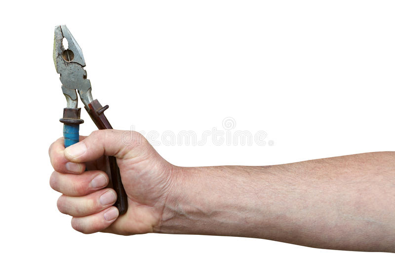 Hand with pliers stock photo
