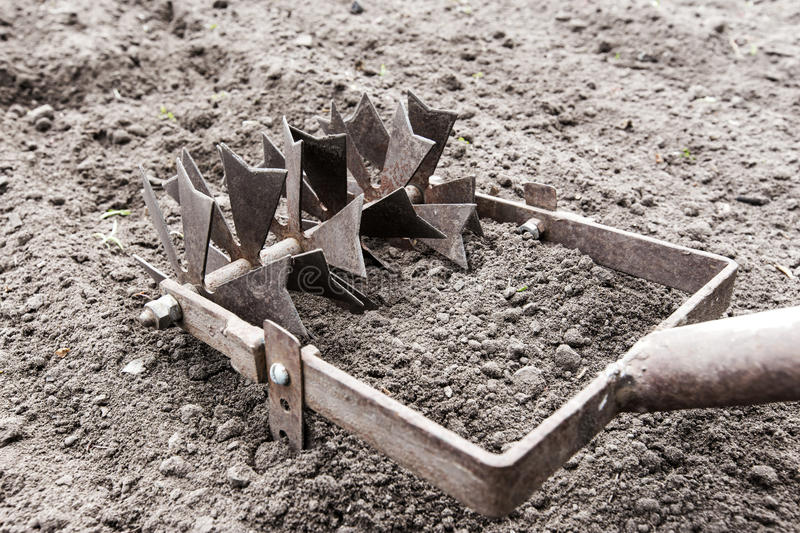 Hand plow. Manual plow on the ground stock images