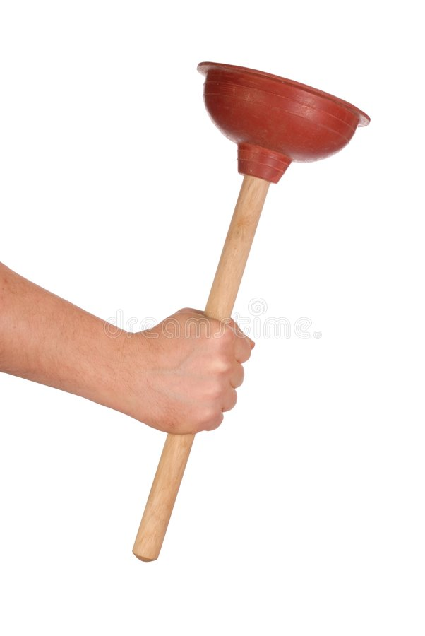 Hand with Plunger. Hand holding plunger isolated on white background royalty free stock photography