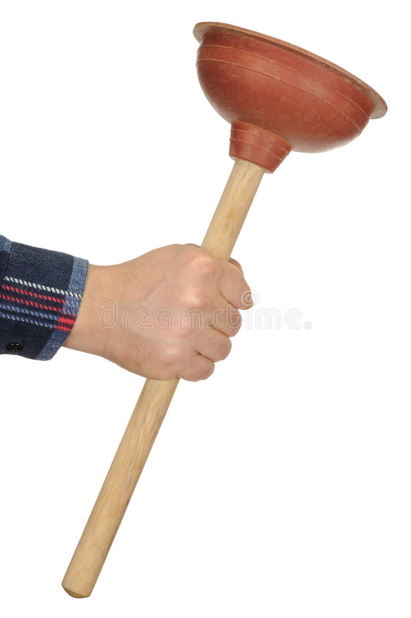 Hand with Plunger stock photos