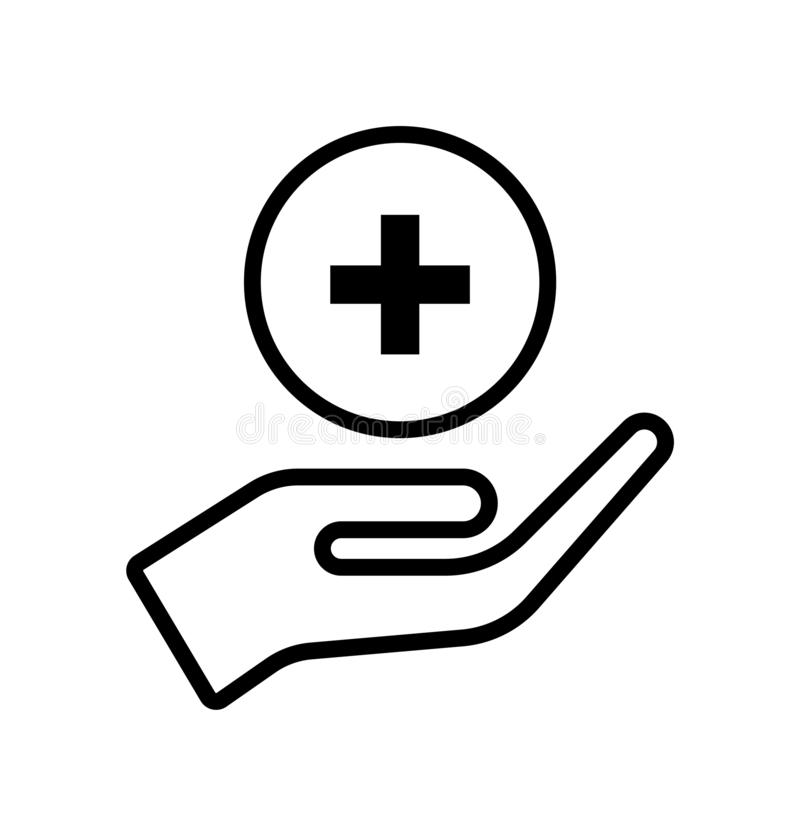 Hand take care plus icon. Simple vector filled flat your hand take care plus thin solid black line icon button isolated on white background stock illustration