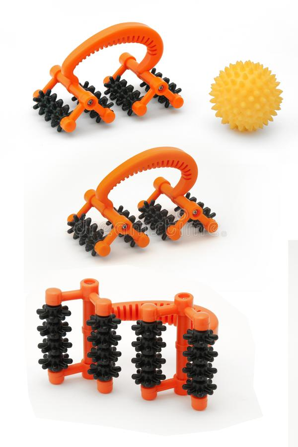 Hand-point body massager and massage ball in different angles. Clipart tool for home massage. Massage equipment on an isolated white background royalty free stock photography