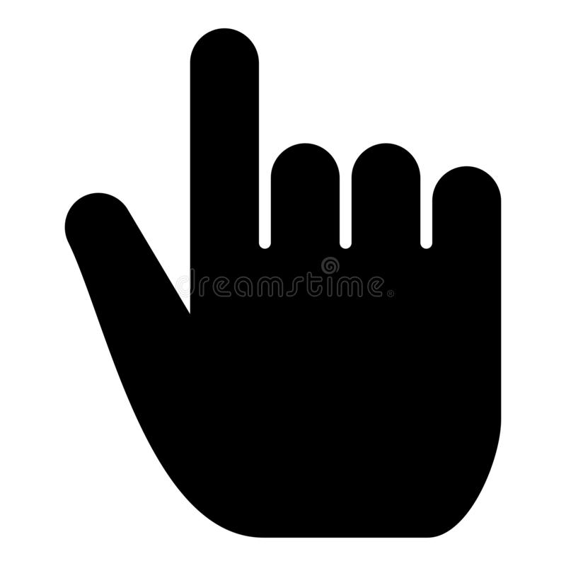 Hand point select declare index finger forefinger for click concept pushing choose icon black color illustration stock illustration