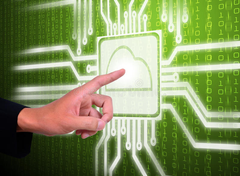 Hand pointer circuit of cloud computing. Green Screen royalty free stock photo