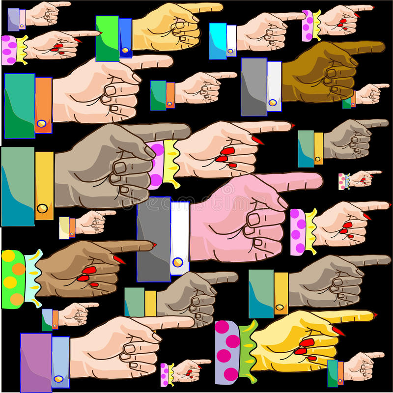 Hand pointer. Hand- pointer for correct decision of the problem stock illustration