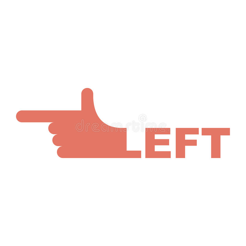 Hand pointer left. Direction of route finger isolated.  stock illustration