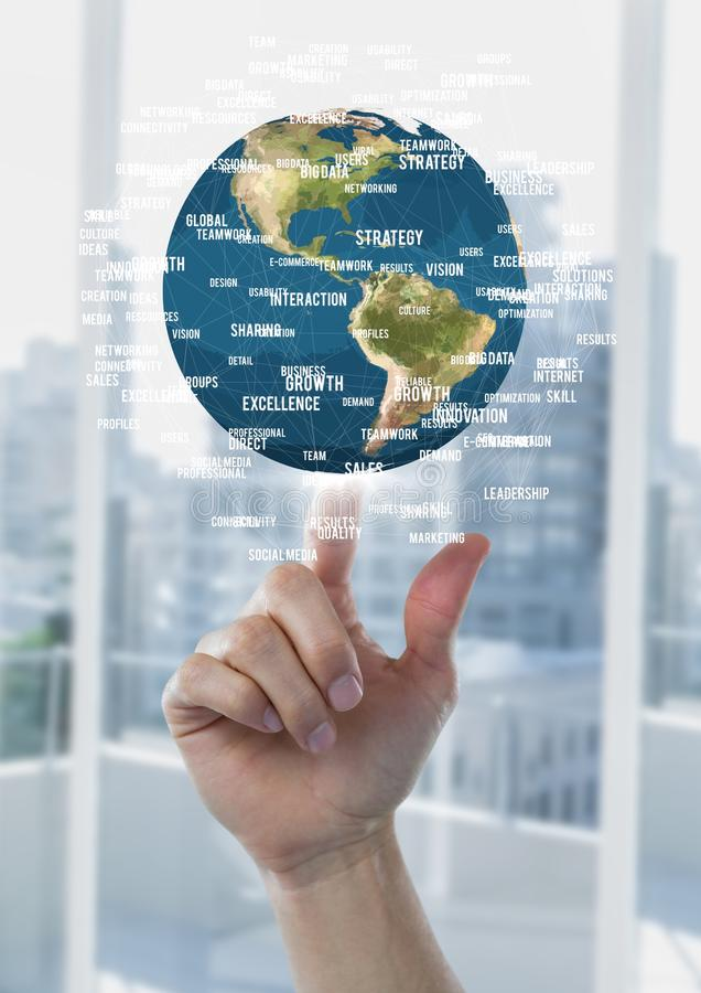 Free Hand Pointing A Globe With Connectors Stock Photography - 99220382