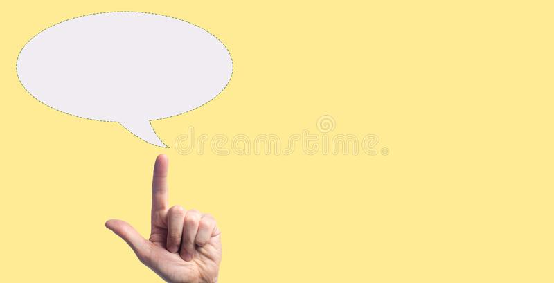 A hand pointing the blank bubble icon. concept dreams, Concept Thinking New Idea Copy Space. place for text stock images