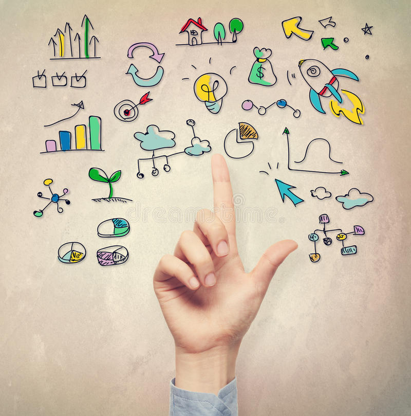 Hand pointing at business idea concepts royalty free stock photo