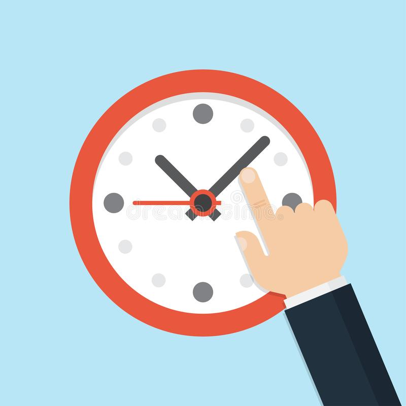 Hand pointing at clock, Time management stock illustration