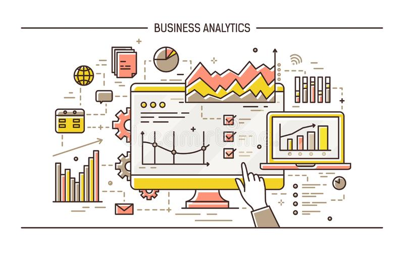 Hand pointing at computer display with results of statistical data analysis on it, various diagrams, charts and graphs. Concept of business analytics. Colorful stock illustration