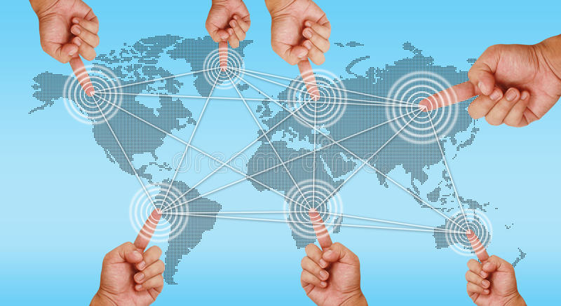 Hand pointing on continents royalty free illustration