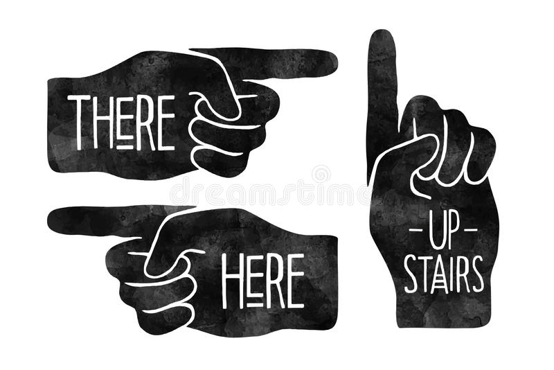 Hand with pointing finger stock illustration