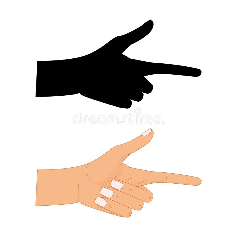 Hand with pointing finger Vector illustration , Pointing fingers, hand drawn hands isolated on white background stock illustration