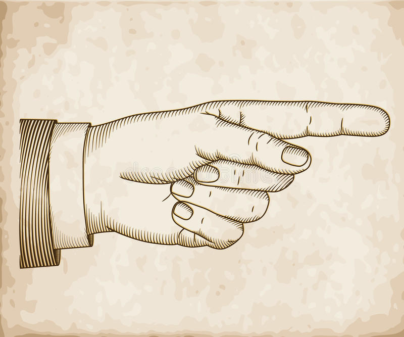 Hand with pointing finger. Woodcut vector illustration