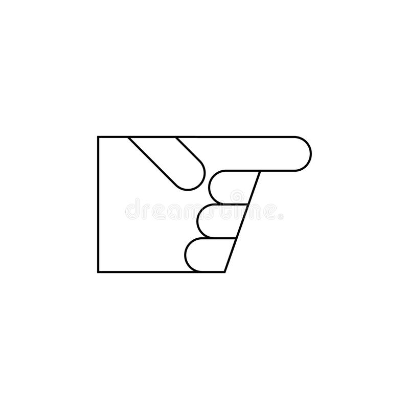 Hand pointing icon Vector line royalty free illustration