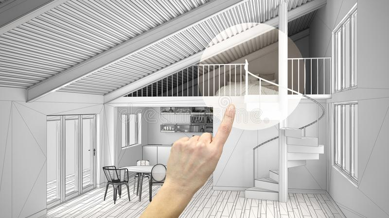 Hand pointing interior design project, home project detail, deciding on rooms furnishing or remodeling concept, open space mezzani. Ne with kitchen, bedroom and stock photo
