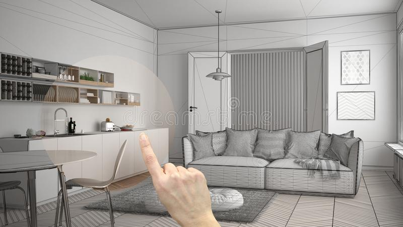 Hand pointing interior design project, home project detail, deciding on rooms furnishing or remodeling concept, scandinavian moder stock photos