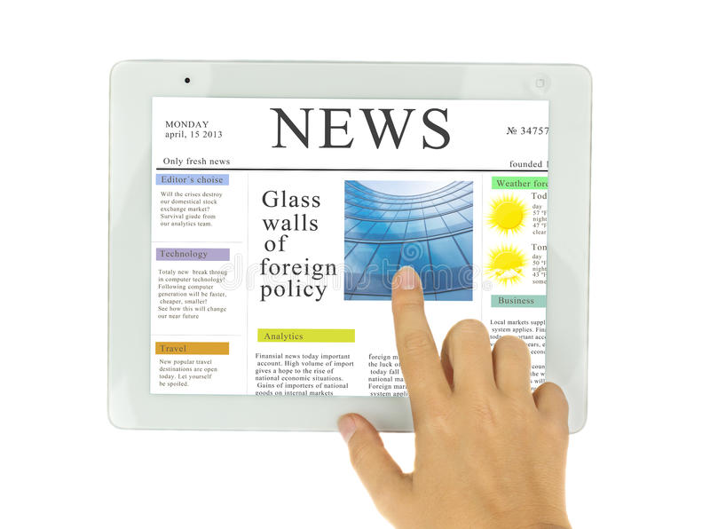 Hands pointing on news at modern tablet PC royalty free stock images